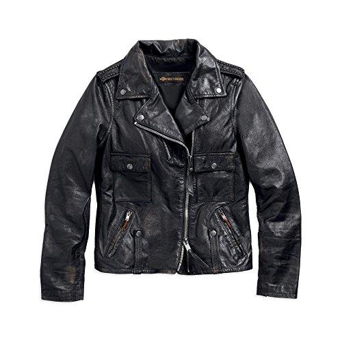 Jacket Harley Davidson Biker - Harley-Davidson Official Women's Wild Distressed Leather Biker Jacket, Black (Large)