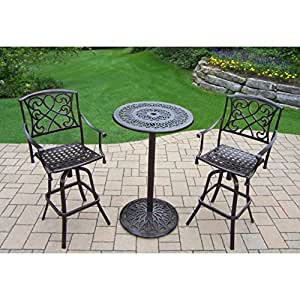 Oakland Living Corporation Elegance Cast Aluminum 3-piece Outdoor Bar Set