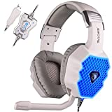 SADES A70 7.1 USB Surround Sound Stereo PC Gaming Headsets Headband Headphones with Microphone Volume Control Noise-Canceling Cool Breathing LED Lights(White)