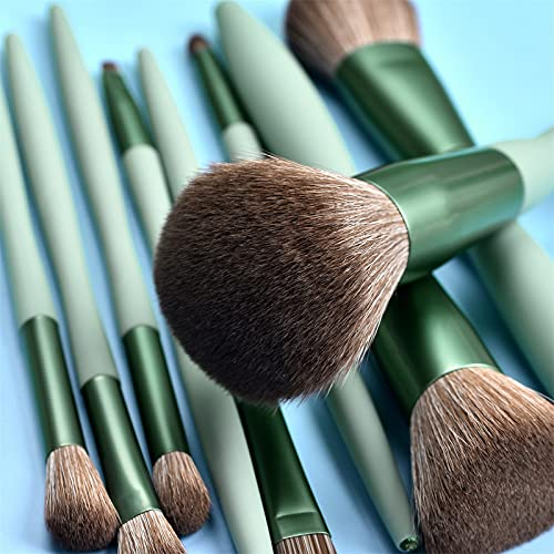 9PCS Cosmetic Eyebrow Eyeshadow Powder Brush Lip Makeup Brushes (Green)