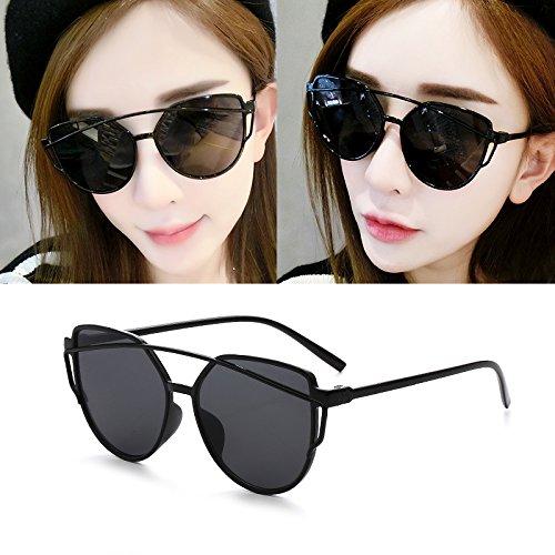Sunyan Lunettes de soleil femme étoile des nouvelles lunettes Lunettes de personnalité ronde ronde du visage des femmes les yeux des hommes de Corée 9758,cadre noir rouge