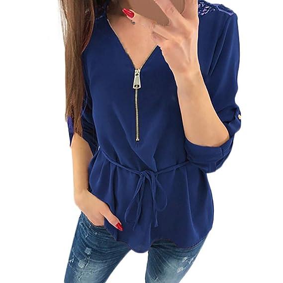 Camisetas Mujer con V Cuello Suelta Blusa Mujer Elegante Camisetas Manga Larga Floja con Cremallera Mujer