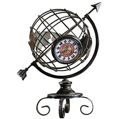 Relojes de pared hacer el hierro viejo mundo estilo retro reloj Escritorio Decoración Craft regalo reloj, 34 × 26 × 43 cm, hacer tu hogar acogedor: ...