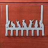 Frjjthchy Creative Cat Over Door Hook Hanger Decorative Organizer Hooks Rack with 8 Hooks (M, Silver)