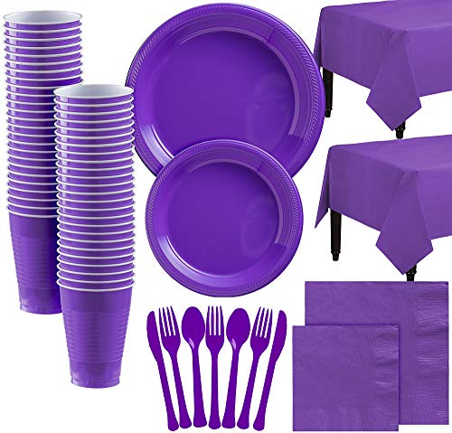 Party City Purple Plastic Tableware Kit for 100 Guests, 852 Pieces, Includes Plates, Napkins, Table Covers, and Utensils -