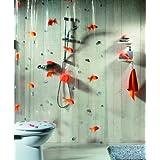 Spirella Goldfish Orange Plastic Shower Curtain 100% PVC Transparent Orange 180 cm x 200 cm by Spirella