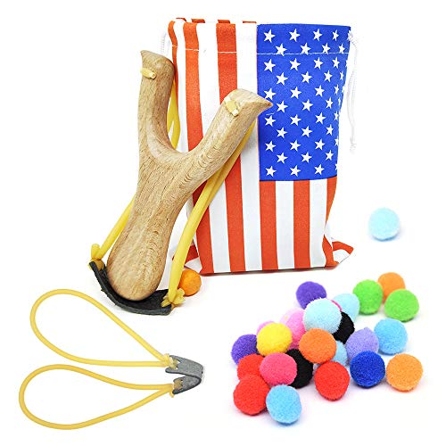 TOPRADE Solid Wooden Hunting Slingshot with National Flag Pattern Bag & Cotton Ammo for Catapult Hunting Game for Kids Children Adults (Flag Bag Set -