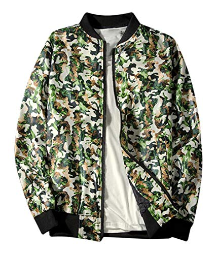 Frieed Mens Skull Print Stand Collar Baseball Casual Zipper Jacket Coat Green S]()