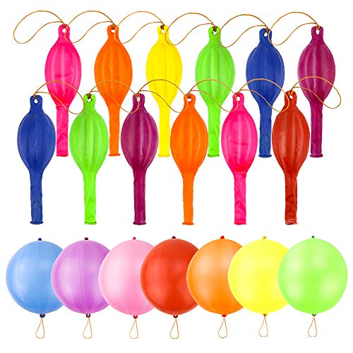 Halloween Punch Ball Balloons (RUBFAC 80 Punch Balloons, Neon Punching Balloons with Rubber Band Handles, 18 Inches, Various Colors Punch Balls, for Gifts, Children's Games,)