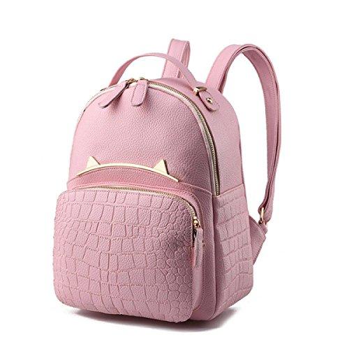 NBAG Mochila De Cuero Salvaje De La PU De La Mujer Mochila Bolsos De La Personalidad Del Bolso Del Ocio De La Manera,Pink Pink
