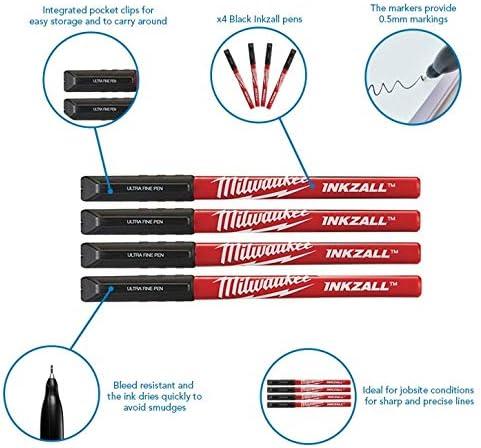 Milwaukee 48-22-3164 4pk Inkzall Black Ultra Fine Point Pens