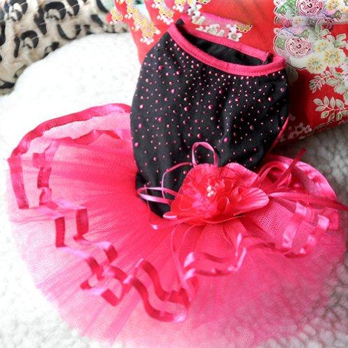 PanDaDa Pet Dog Bling Tutu Dress Lace Skirt Cat Princess Clothes Dog Flower Dress XS (Cat Tutu)