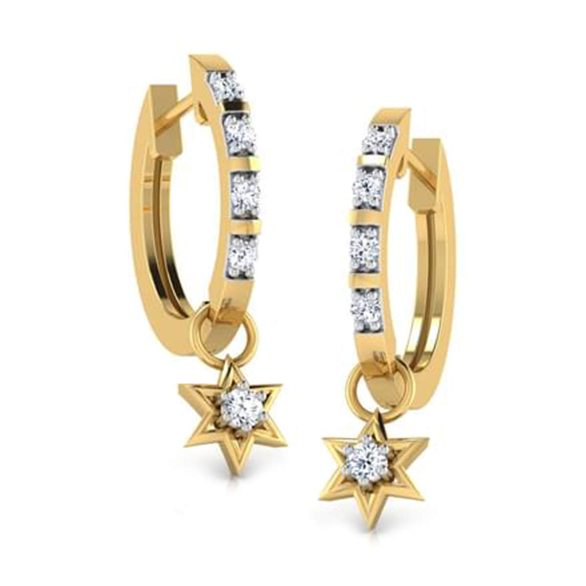 0.25 Ct Round Cut Simulated Diamond Clip On Hoop Earrings 14K Yellow Gold