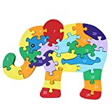 puzzles for kids numbers - DD Wooden Jigsaw Puzzles Winding Elephant Toys Game Children Letter Numbers Preschool Puzzles Educational Toys for Toddler/Little Kid/Big Kid by DD Collection