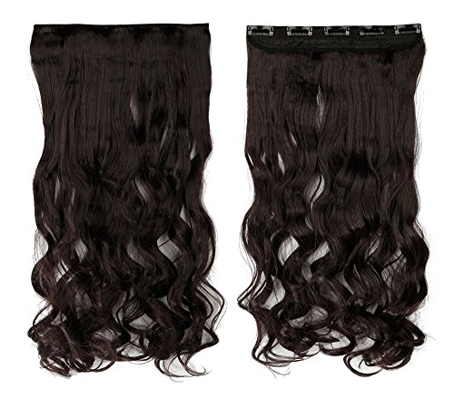 Dark Brown 17 Inches Long Curly One Piece Clip in Hair Extensions (5 Clips) Clip Ins Hairpiece for Women Lady - Francisco Premium In San Outlets
