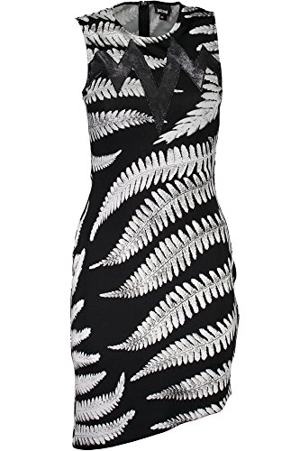 Just Cavalli Womens Zebra Fern Dress, Black/White Variant 40