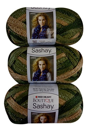 (Red Heart Boutique Sashay Yarn Conga Green Khaki, Pack of (3) from Same Dye Lot)