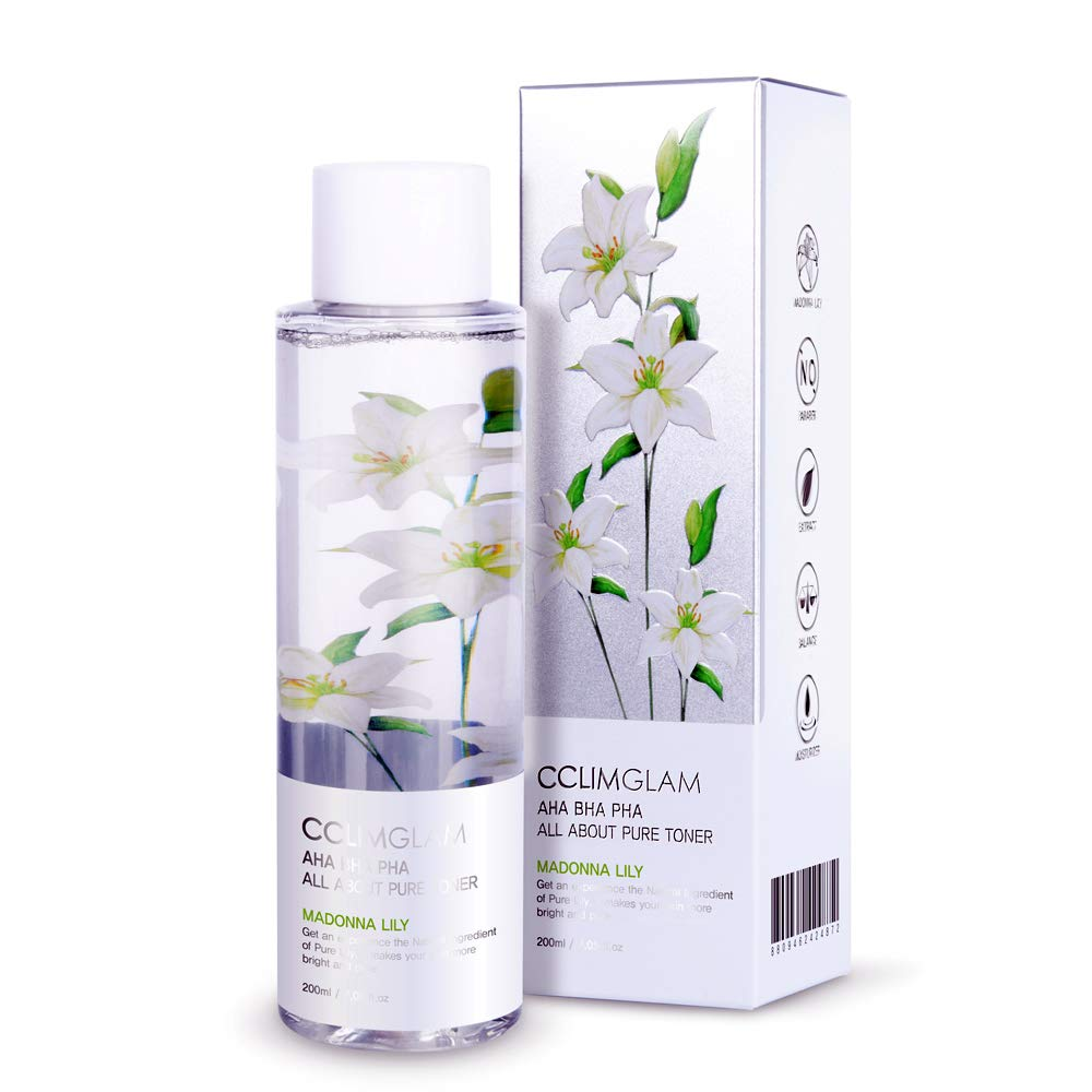 Korean Skin Care - CCLIMGLAM MADONNA LILY Flower Water Toner for Face, AHA BHA PHA All About Pure Facial Toner, Anti-acne Exfoliation, Hydration, Help to improve Wrinkles Brightening (6.76 oz)