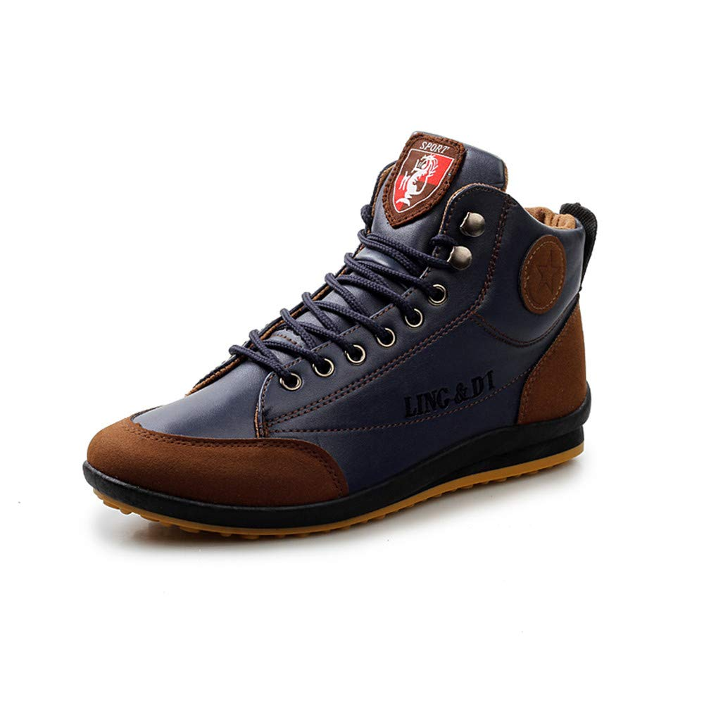 AIRAVATA Men's Outdoor Western Fashion Ankle Boots Casual Short Lace Up Leather Hiking Boots