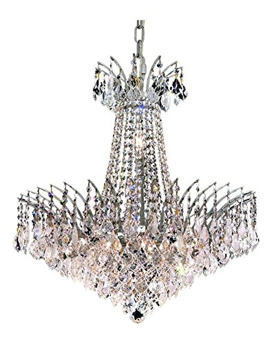 Elegant Cut Clear Crystal Victoria 11-Light, Two-Tier Crystal Chandelier, Finished in Chrome with Clear Crystals ()
