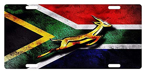 SSLife South Africa Flag African Emblem Springbok5 License Plate Metal Aluminum Vanity Auto Car Tag for Decoration 6x12 Inchs