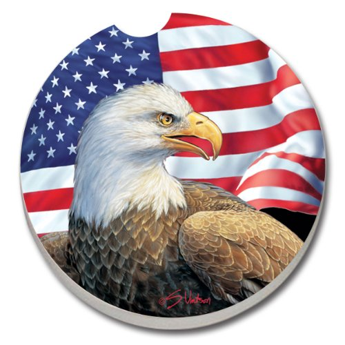 CounterArt Absorbent Stoneware Car Coaster, Eagle and Flag
