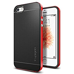 Spigen Neo Hybrid iPhone SE Case with Flexible Inner Protection and Reinforced Hard Bumper Frame for iPhone SE 2016 - Dante Red