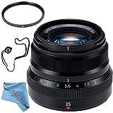 Fujifilm XF 35mm f/2 R WR Lens (Black) 16481878 + 43mm UV Filter + Fibercloth + Lens Capkeeper Bundle