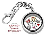 Dental Hygienist Assistant Dentist Memory Locket DETACHABLE Key Chain Pendant Set, Floating Charms