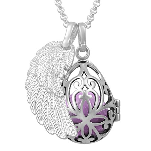EUDORA Harmony Ball Sterling Silver Plated Pregnancy Necklace Pendant & 18mm Angel Wing Mexican Bola Ball Pendant Necklace ()