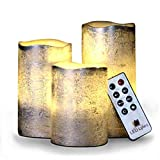 Battery Operated LED Flameless Candles - Set of 3 Round Rustic Silver Coated Ivory Wax with Warm White Flame Flickering LED Candles, auto-Off Timer Remote Control by LED Lytes