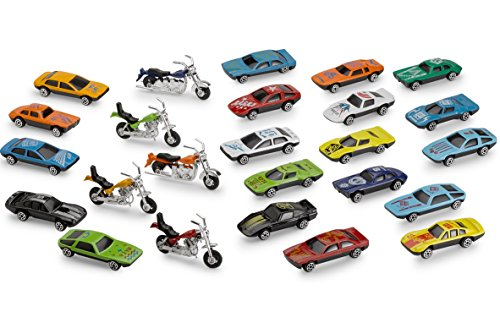 Kicko Diecast Cars and Motorcycles Assortment - 25 Piece Assorted Cars and Motorcycle Toys - Gifts, Party Bag Stuffers and Fillers