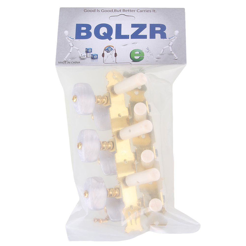 BQLZR Golden Mica Color Rectangle Button Zinc Alloy 3L+3R 6 String Guitar Tuning Keys Pegs Machine Head Tuner for Classical Guitar Pack of 2 N21816