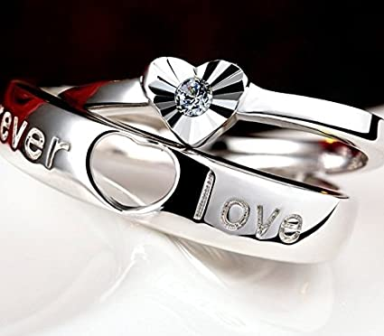 1cf955cf14 Unique Creative Couple Lover Rings Opening Rings Influx Students who s925  Sterling Silver Rings for Men