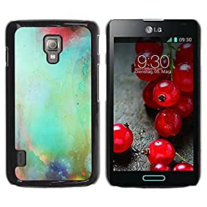 PC/Aluminum Funda Carcasa protectora para LG Optimus L7 II P710 / L7X P714 Pastel Nature Glass Blurry Teal / JUSTGO PHONE PROTECTOR