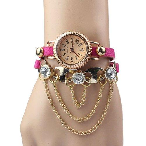 Aokdis HOT Selling 1pc Vintage Leather Bracelet Woman Rivet Bracelet Quartz Wrist Watch (hot pink)
