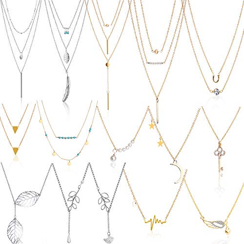 Hicdaw 15PCS Layered Necklace Multilayer Necklaces for Women Pendant Heartbeat Chain Girls Women Mother Jewelry Set