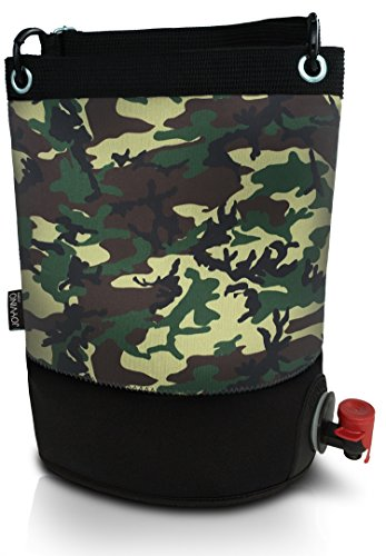Wine Purse Cooler – BYOB Portable Wine Dispenser (0.8 Gallon/3 Liter) – Perfect Wine Bag For Party, Pool, Beach, and Travel – Insulated Tote Keeps Contents Chilled or Warm – Removable Bladder (Camo) by Trendy Bartender