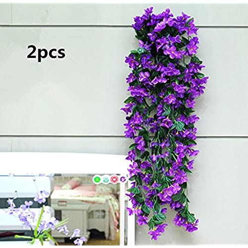 Violet silk flowers amazon cooblartificial silk violet garland plants vine flowers floral wedding party wall home decor purple2pcs purple mightylinksfo