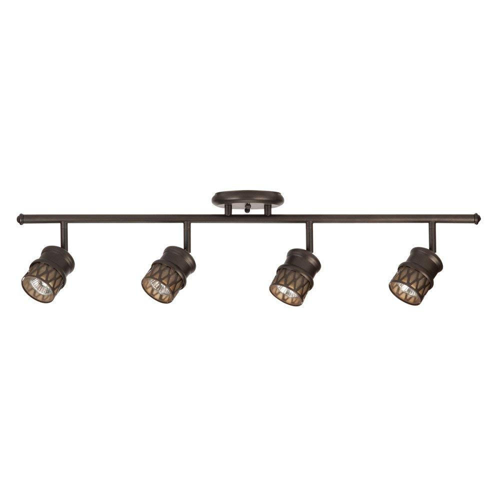 Globe Electric Norris 4-Light Track Lighting, Bronze, Oil Rubbed Finish, Champagne Glass Track Heads, Bulbs Included 59063 (Renewed)