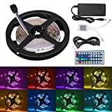 Cynkie 16.4ft LED Flexible Strip Lights, 150 Units SMD 5050 LEDs, Non-Waterproof 12V DC Light Strips, RGB LED Light Strip Kit with 44Key Remote Controller and Power Supply for Kitchen Bedroom Car Bar