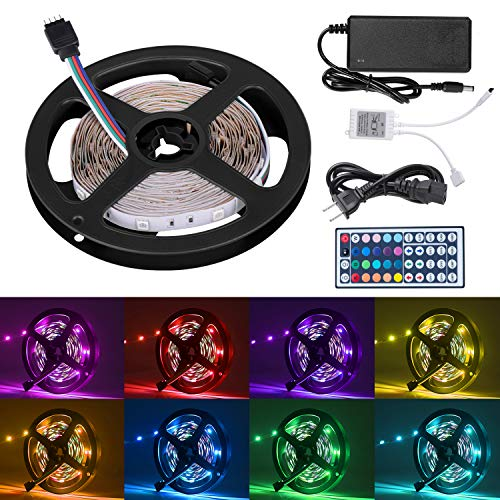 Cynkie 16.4ft LED Flexible Strip Lights, 150 Units SMD 5050 LEDs, Non-Waterproof 12V DC Light Strips, RGB LED Light Strip Kit with 44Key Remote Controller and Power Supply for Kitchen Bedroom Car Bar by Cynkie
