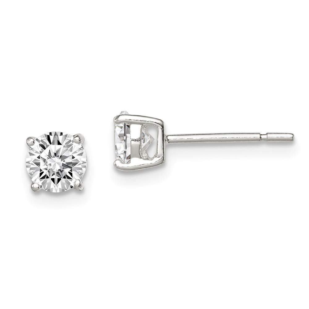 5mm x 5mm Solid 925 Sterling Silver 5mm Round Basket Set Cubic Zirconia CZ Stud Earrings