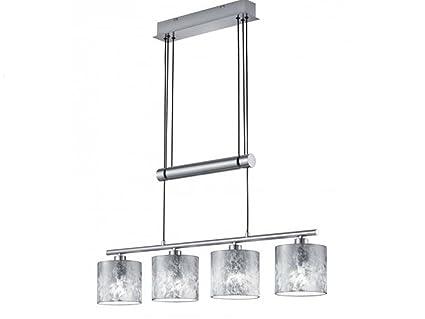 4 flammige Jojo Hängelampe GARDA Stoffschirme silber Esstischlampe Küchenlampe