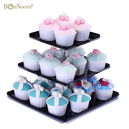 Bonnoces Cupcake Stand - 3 Tier Square Cupcake Tower - Strong Sturdy Acrylic Cupcake Holder with Borders and Stable Screw - Elegant Black Plate - Perfect for Wedding, Birthday, Party and Baby Shower