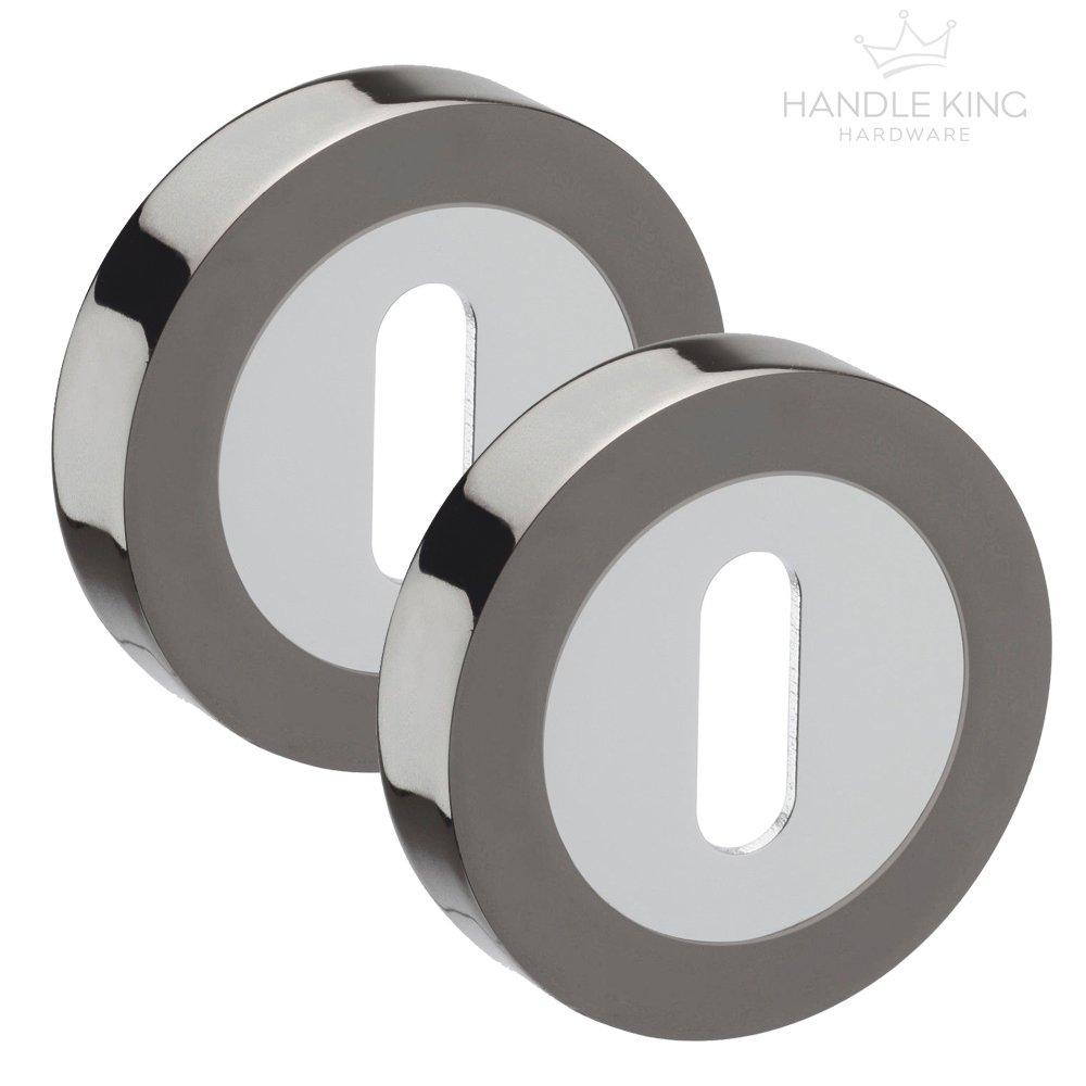 Keyhole Escutcheons with Black Nickel and Polished Chrome Finish Handle King Hardware ®