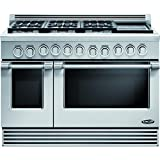 DCS RDV486GDL Professional 48'' Stainless Steel Slide-In Dual Fuel Sealed Burner Double Oven Range - Convection