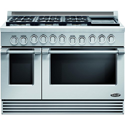 "Price comparison product image DCS RDV486GDL Professional 48"" Stainless Steel Slide-In Dual Fuel Sealed Burner Double Oven Range - Convection"