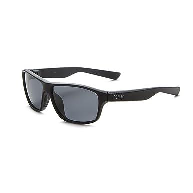 YUFENRA Polarisierte sportliche Sonnenbrille für Outdoor-Aktivitäten wie Radfahren, Autofahren und Angeln (Schwarz Rahmen/Blau Spiegellinse)