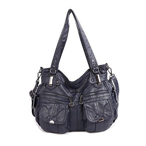 Handbag Hobo Women Shoulder Bag/Handbag Roomy Multiple Pockets Fashion PU Tote, Blue-1